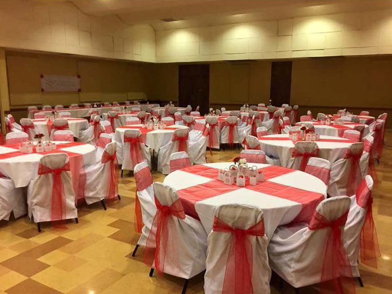 Banquet Tables Red Ribbon